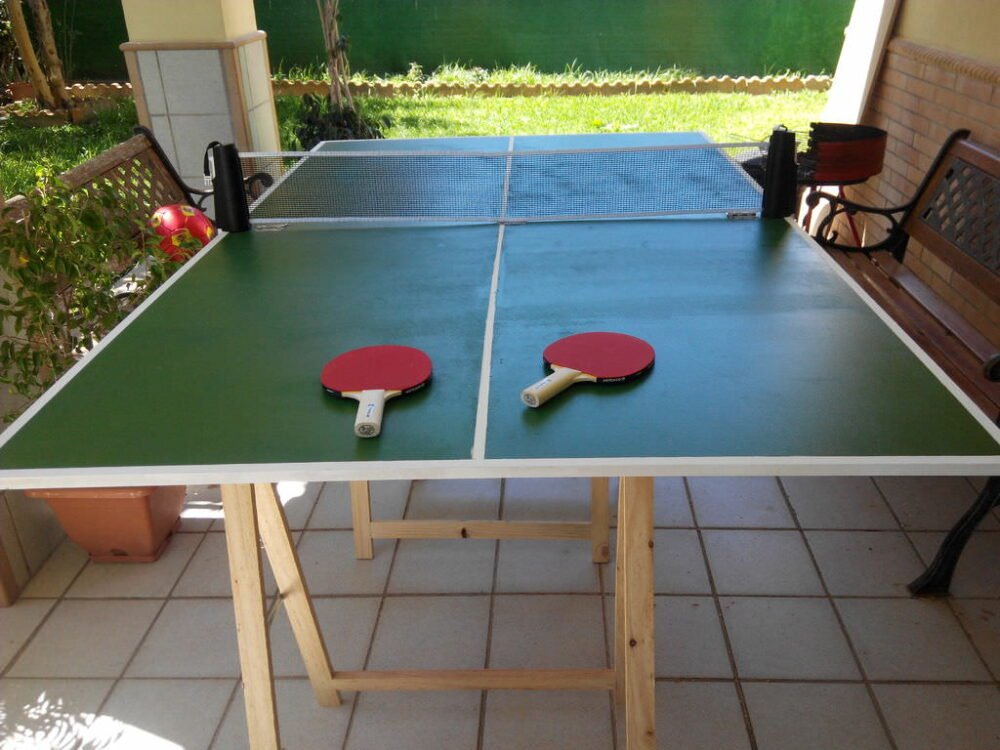 ping pong table with salvaged parts