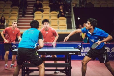Table tennis doubles match