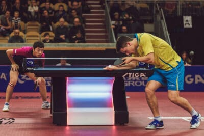 Kristian Karlsson and Xu Xin at the table tennis tournament SOC at the arena Eriksdalshallen.