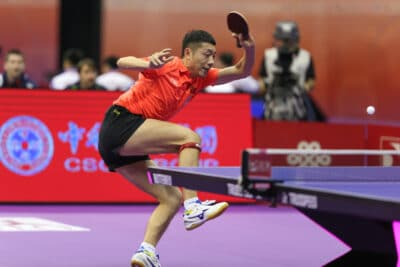 Xu Xin of China plays return shot in his match in the Perfect 2016 World Team Table-tennis Championships held in Kuala Lumpur, Malaysia.