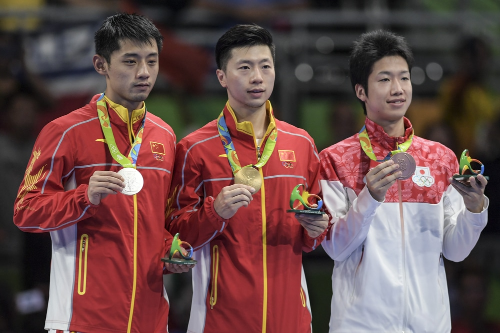 Ma Long (CHN) gold medal, Jike Zhang, silver and Jun Mikutami, bronze in the table tennis of the Olympics rio2016