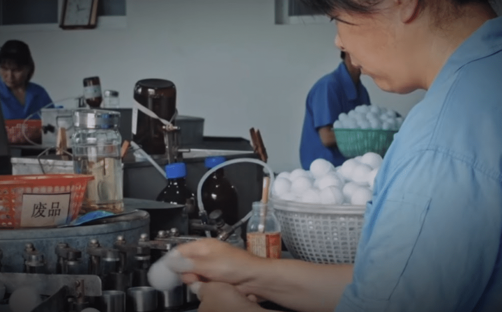 ping pong ball being made